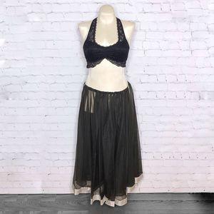 Black Belly Dance Skirt Open Sides Metallic Trim